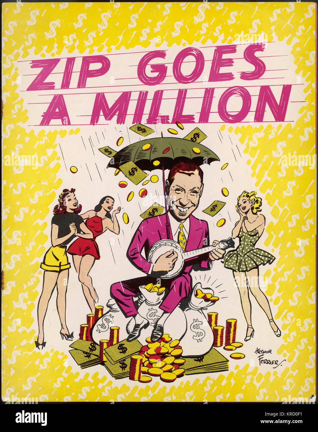 Colour theatre programme cover for a music revue, Zip Goes a Million with George Formby in a starring role.  The - Stock Image