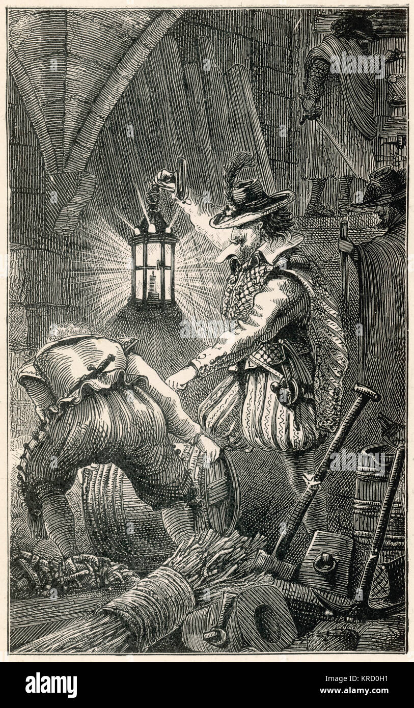 The Gunpowder Conspiracy of 1605, or the Gunpowder Plot, was a failed assassination attempt by a group of provincial - Stock Image