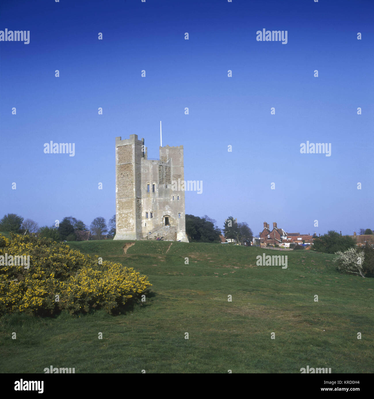 Orford Castle, Suffolk. The Keep was built to a highly innovative design as an 18-sided drum. Both exterior and Stock Photo