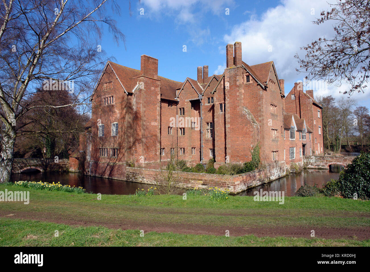 Harvington Hall is a moated medieval and Elizabethan manor house in the hamlet of Harvington in the civil parish Stock Photo