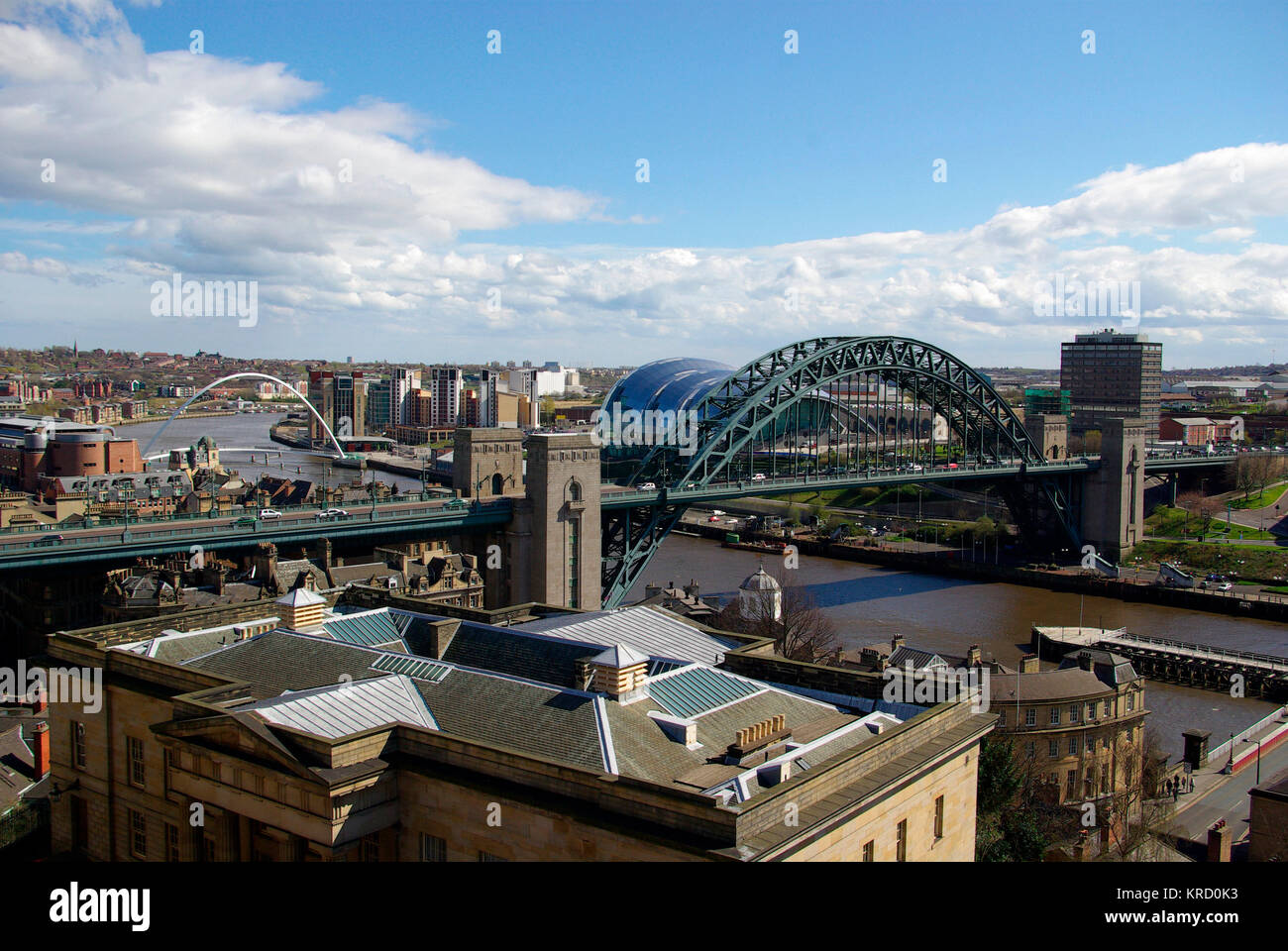 The Tyne Bridge is a compression arch suspended-deck bridge linking Newcastle upon Tyne and Gateshead. It was designed - Stock Image