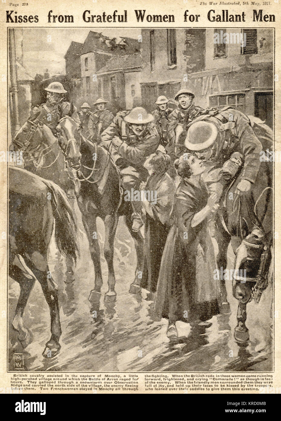 Kisses from grateful women for gallant men. British cavalry men are greeted by joyful French women in the village - Stock Image
