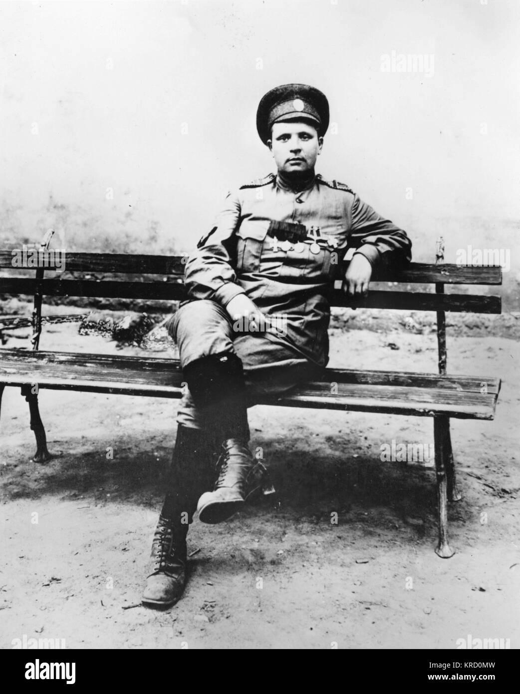 Maria Leontievna Bochkareva (nee Frolkova),  who fought in World War I and formed the First Russian Women's - Stock Image