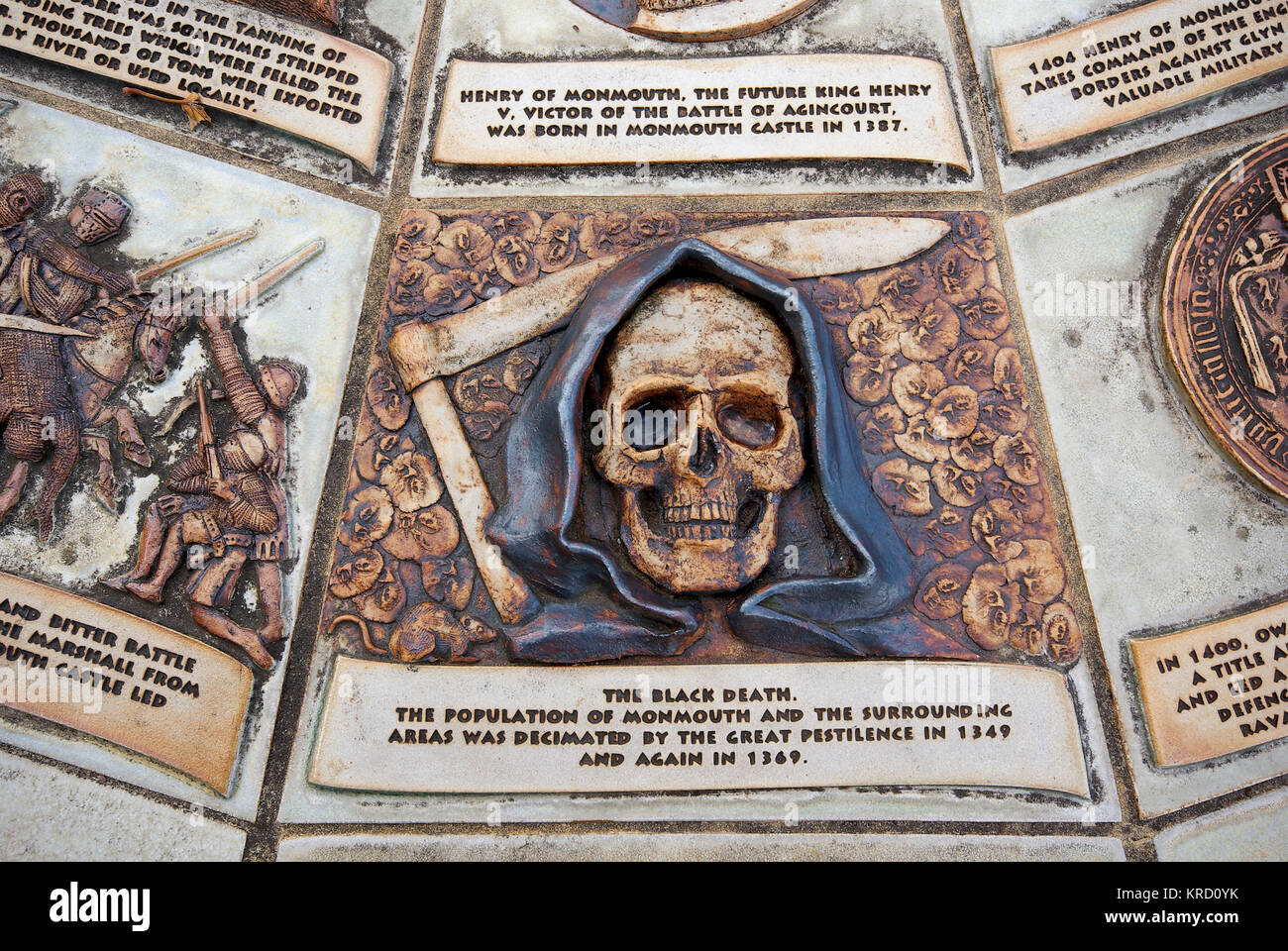 A Death's Head design on the Table Top Plaque, which depicts the history of Monmouth, Gwent, in several scenes. - Stock Image