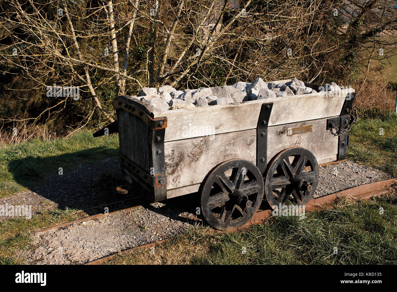 A replica truck on display at Brinore Tramroad, Talybont canalside, in the Brecon Beacons National Park, Wales. - Stock Image