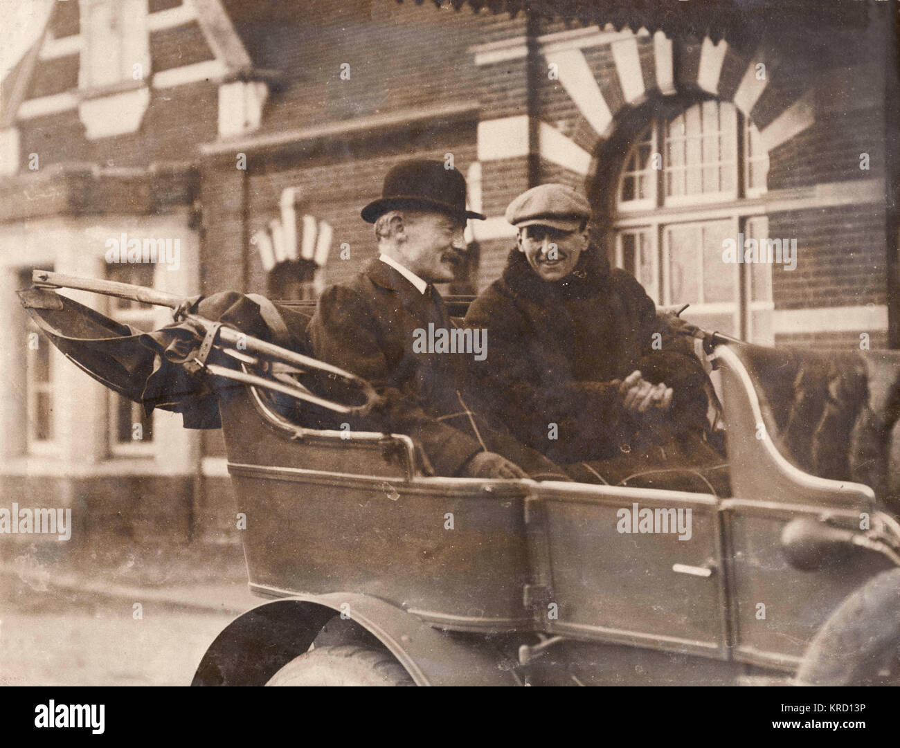 General Baden Powell and Charles Burgess Fry sitting in the back of an open car.  At this time Fry (who is best - Stock Image