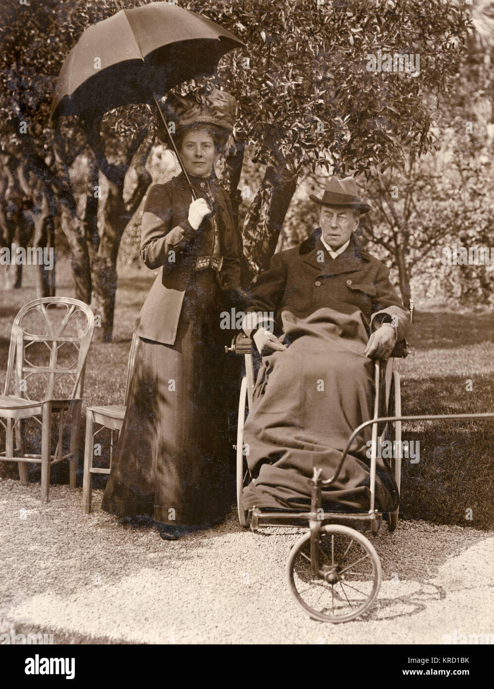 Joseph Chamberlain (1836-1914), Liberal politician, with his wife Mary at Cannes, France.  He was convalescing following - Stock Image