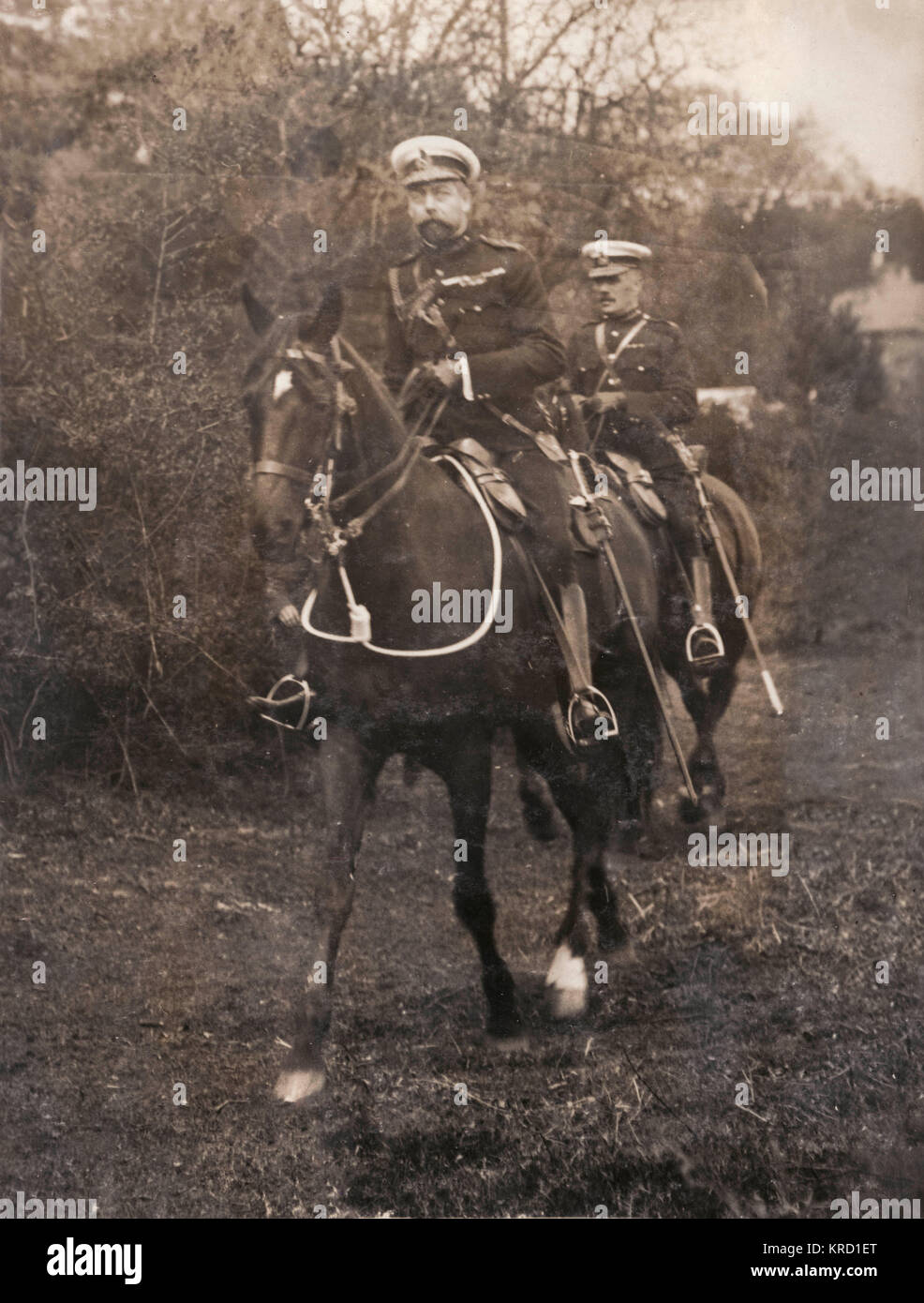 The Prince of Wales (soon to be George V) taking part in military manoeuvres near Aldershot in Hampshire.       - Stock Image