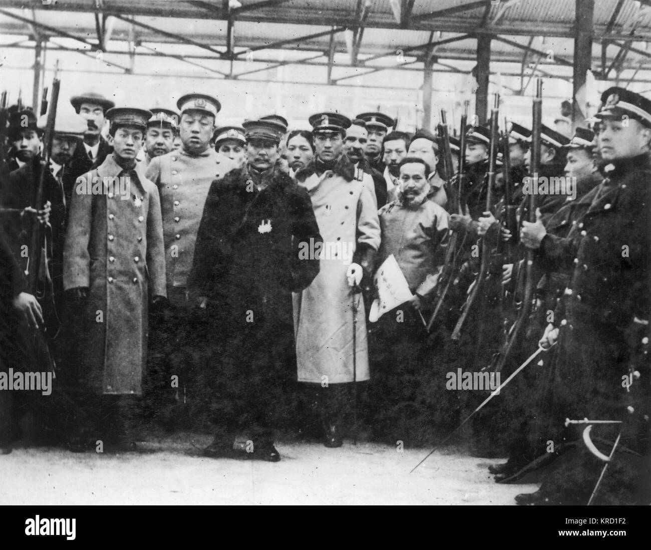 Sun Yat Sen (1866-1925) (at the centre in a fur coat) leaving Shanghai for Nanking to assume his position as President - Stock Image