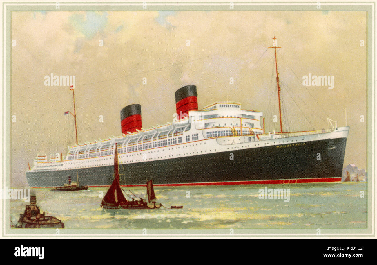 RMS Mauretania.  A successor to RMS Mauretania of 1906.  Launched 28th July, 1938 she saw only the briefest period - Stock Image
