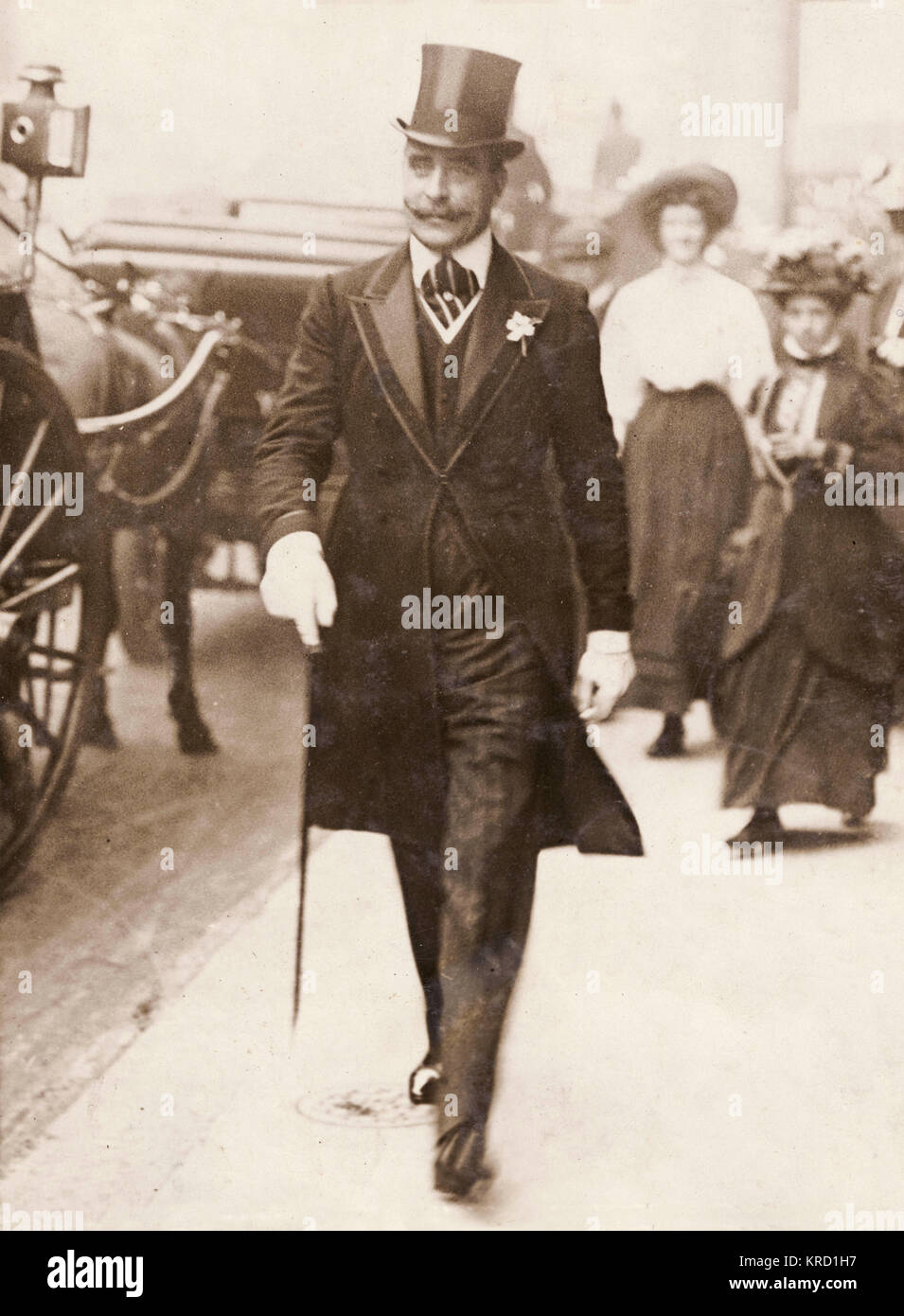 Prince Francis of Teck (1870-1910), brother of Queen Mary, walking along the street in smart morning dress.     - Stock Image