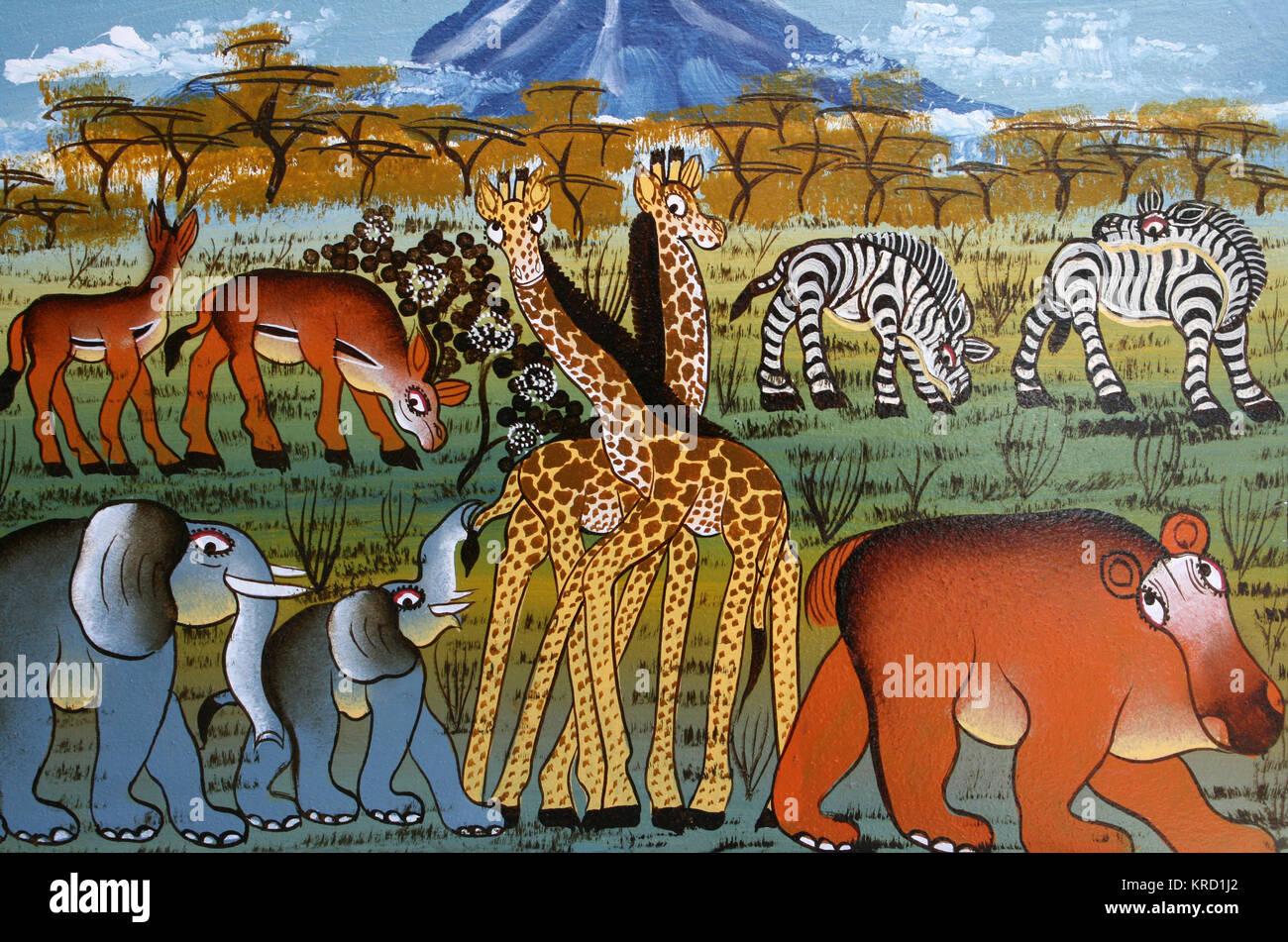 Tinga Tinga Painting Of African Safari Animals - Stock Image