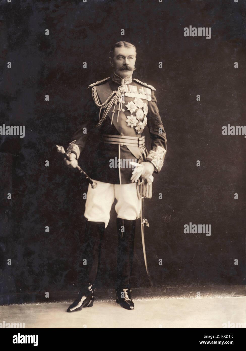 Field Marshal Horatio Herbert Kitchener, 1st Earl Kitchener (1850-1916), British Field Marshal, a diplomat, and - Stock Image