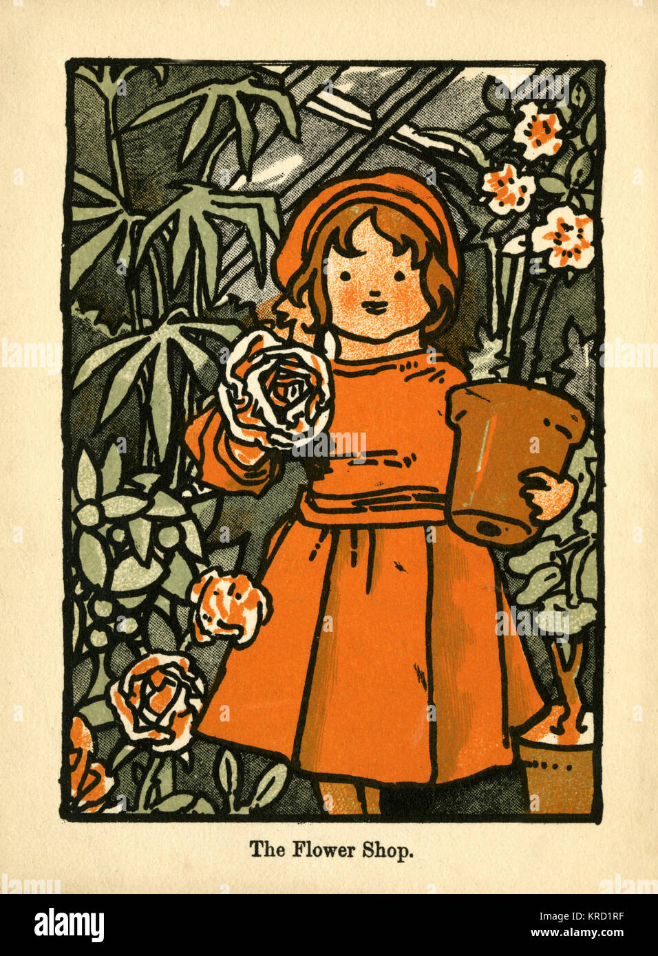 The Flower Girl. A young girl in a red dress stands happily in a greenhouse, holding a flowerpot in one arm and Stock Photo