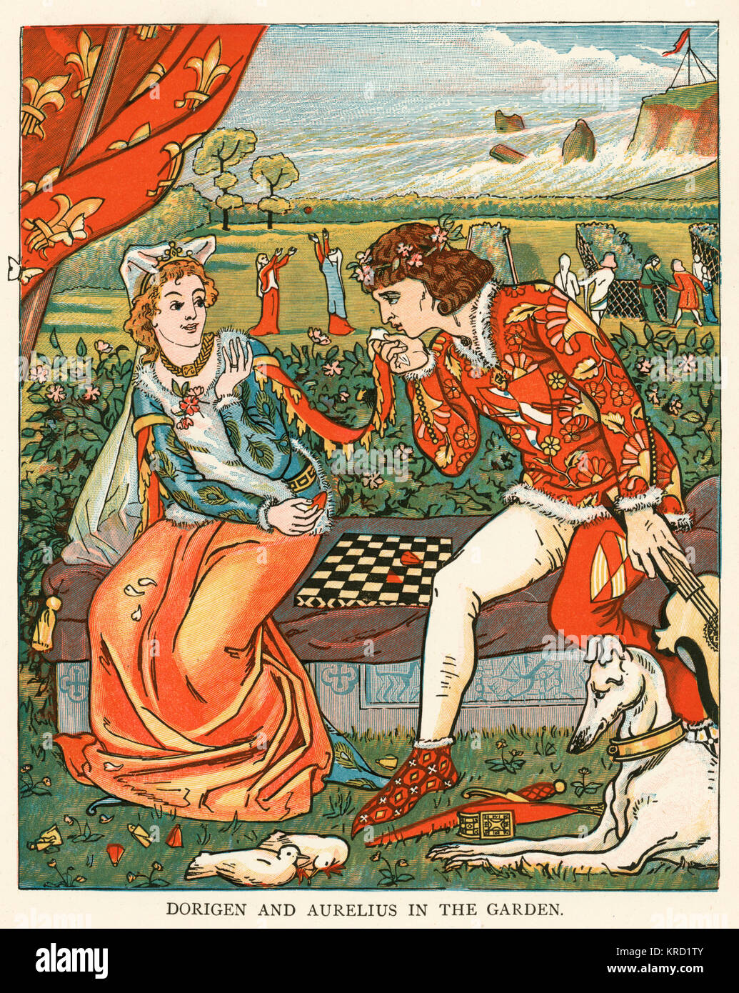 Canterbury Tales: The Franklin's Tale.  The squire Aurelius, and  Dorigen, with whom Aurelius is  in love   - Stock Image