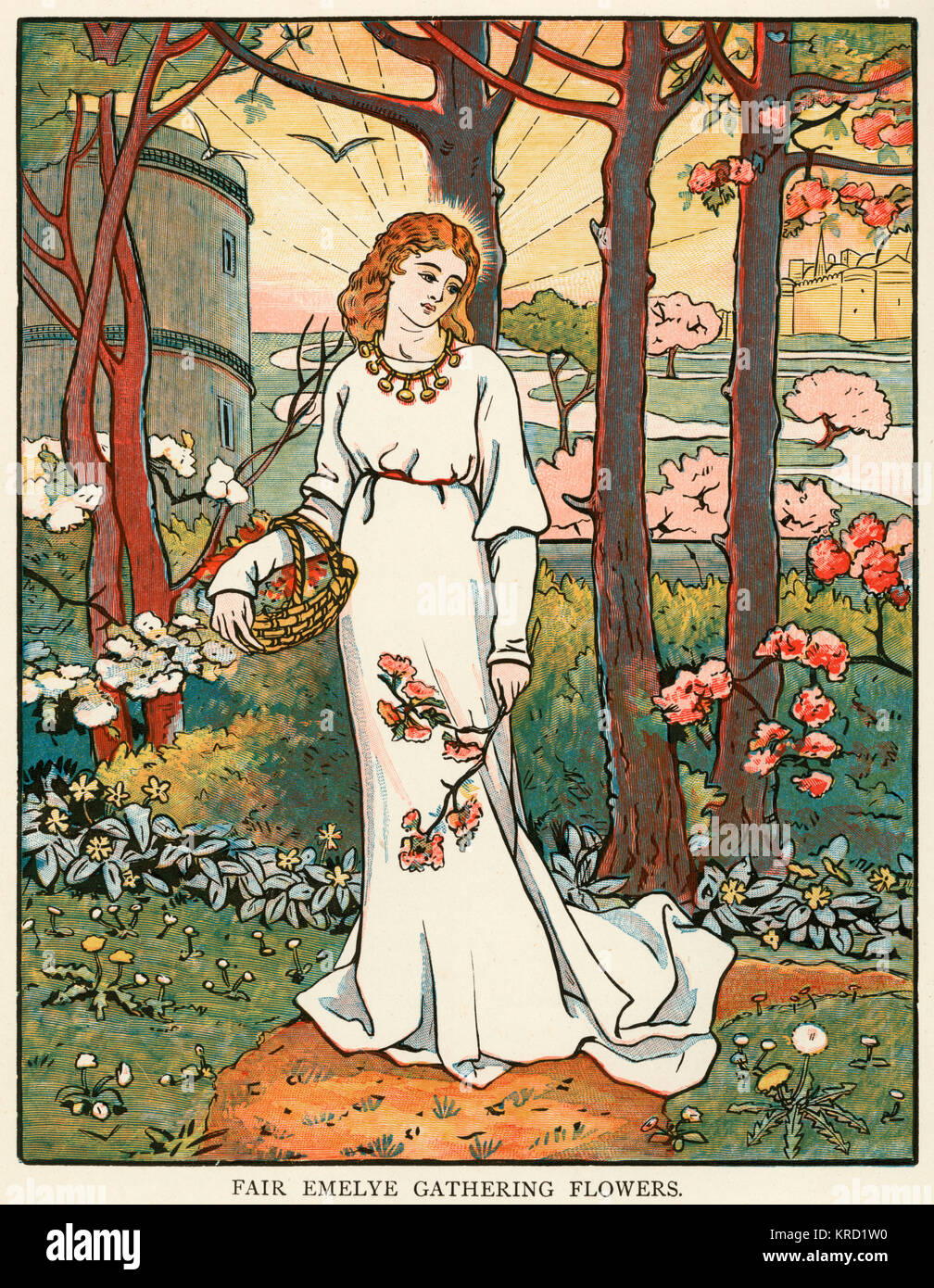 Canterbury Tales: The Knight's Tale.  Emelye gathering flowers     Date: First published: circa 1387 - Stock Image