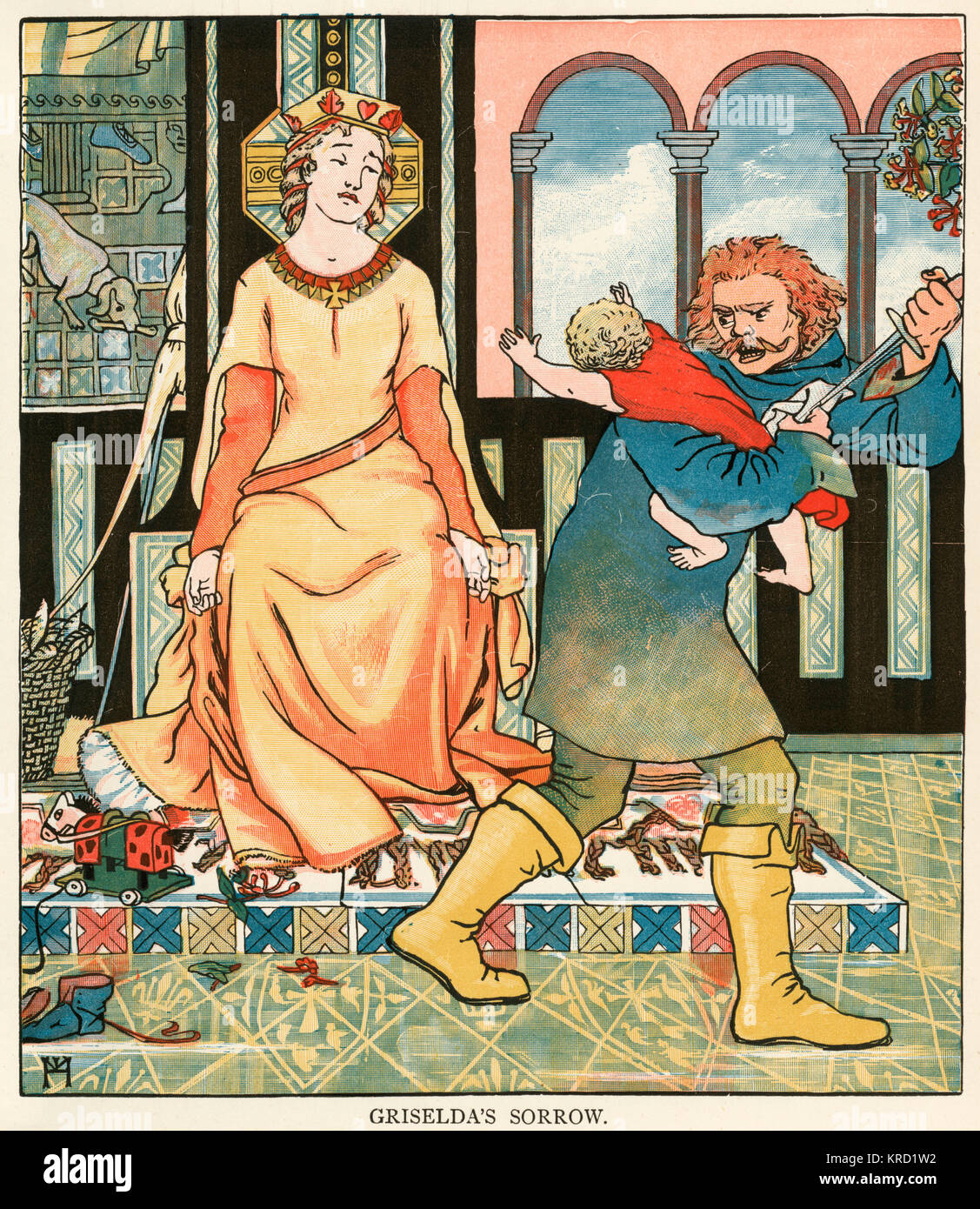 Canterbury Tales: The Clerk's Tale.  Griselda's sorrow as her baby is taken from her by knifepoint by an - Stock Image