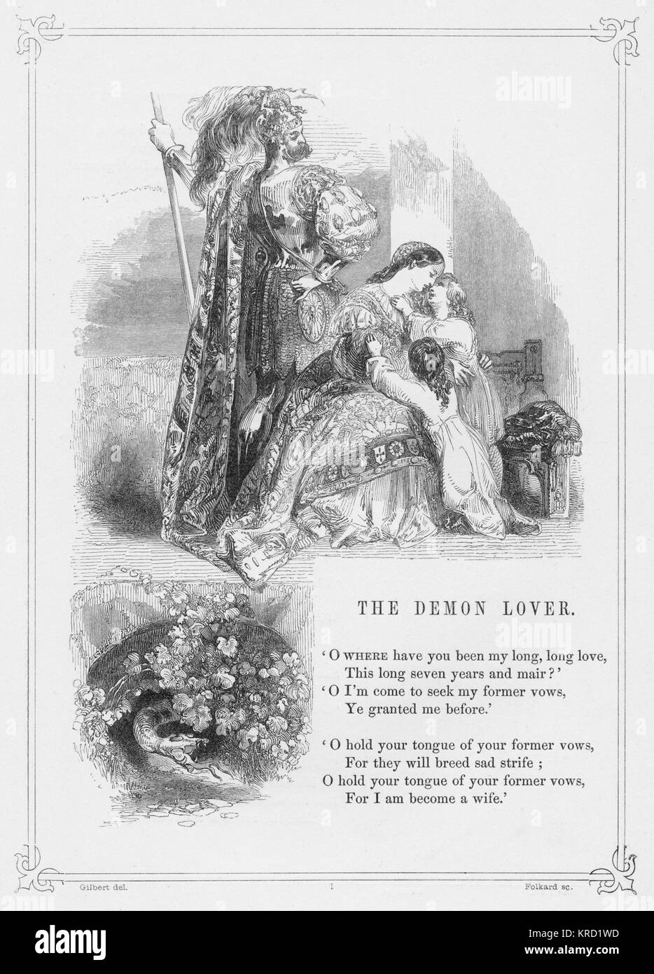 THE DEMON LOVER (also known as James Harris, James Herries, or The House Carpenter)  Popular British Ballad telling - Stock Image