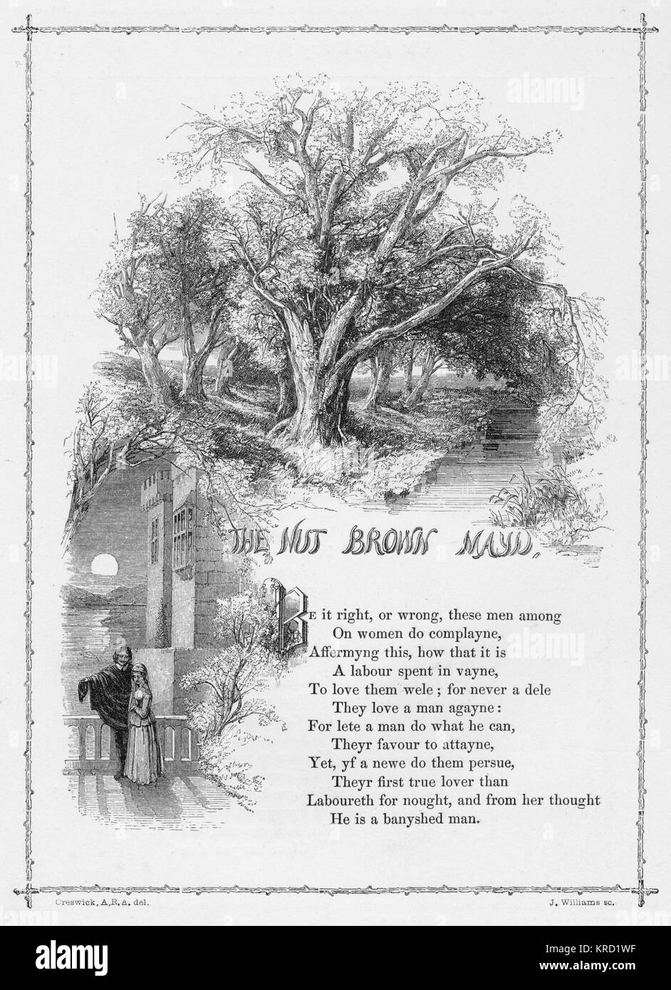THE NUT BROWN MAYD (Maid - Maiden)  Popular British Ballad by an anonymous author, praising the virtues of a devoted woman.  First appearing around the 16th century.     Date: 1853 Stock Photo