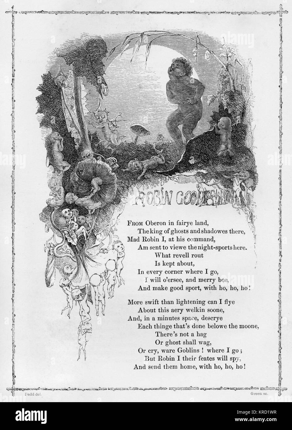 ROBIN GOODFELLOW (The Mad Merry Pranks of)  British ballad.  More commonly known as Puck, the work of this mischievous - Stock Image