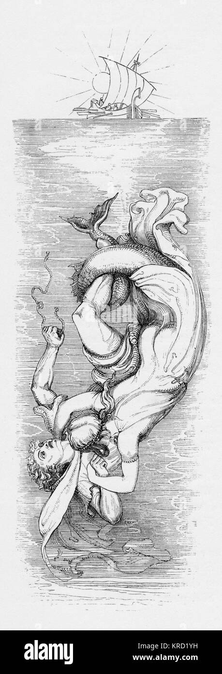 THE MERMAID.  British ballad by Dr. John Leyden.  The Gaelic story bears that Macphail of Colonsay was carried off - Stock Image