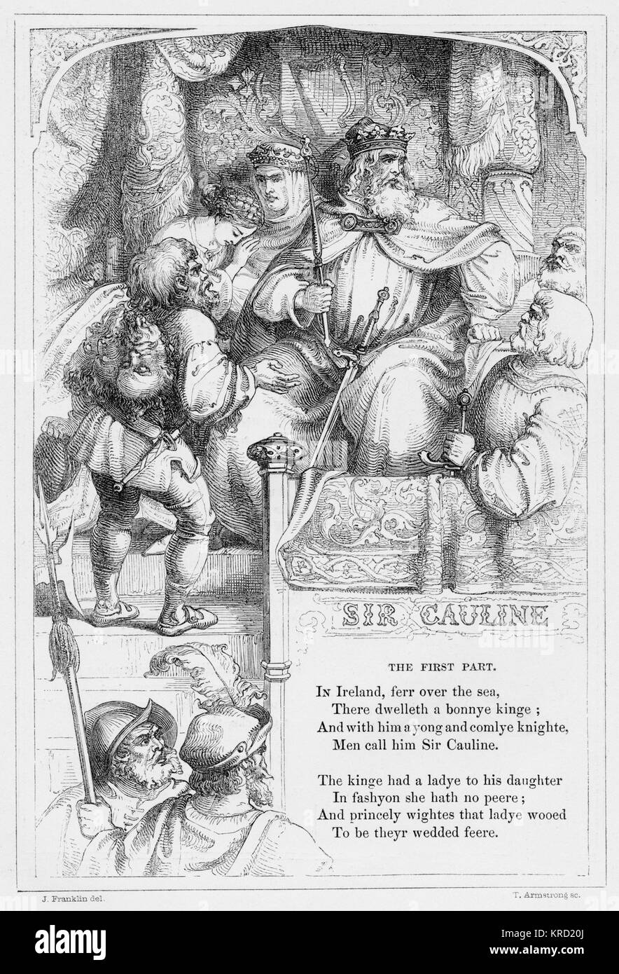 SIR CAULINE (Sir Cawline)  British ballad telling the story of Sir Cawline who is in love with the king's daughter. - Stock Image