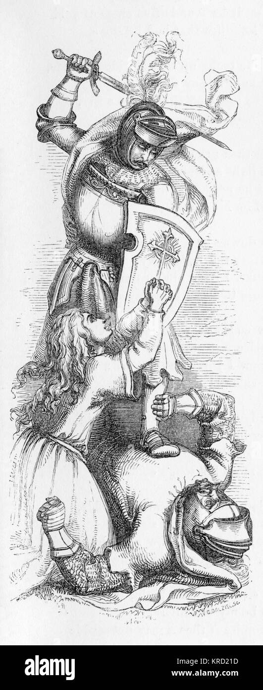 SIR CAULINE (Sir Cawline)  British ballad telling the story of Sir Cawline who is in love with the kings daughter - Stock Image