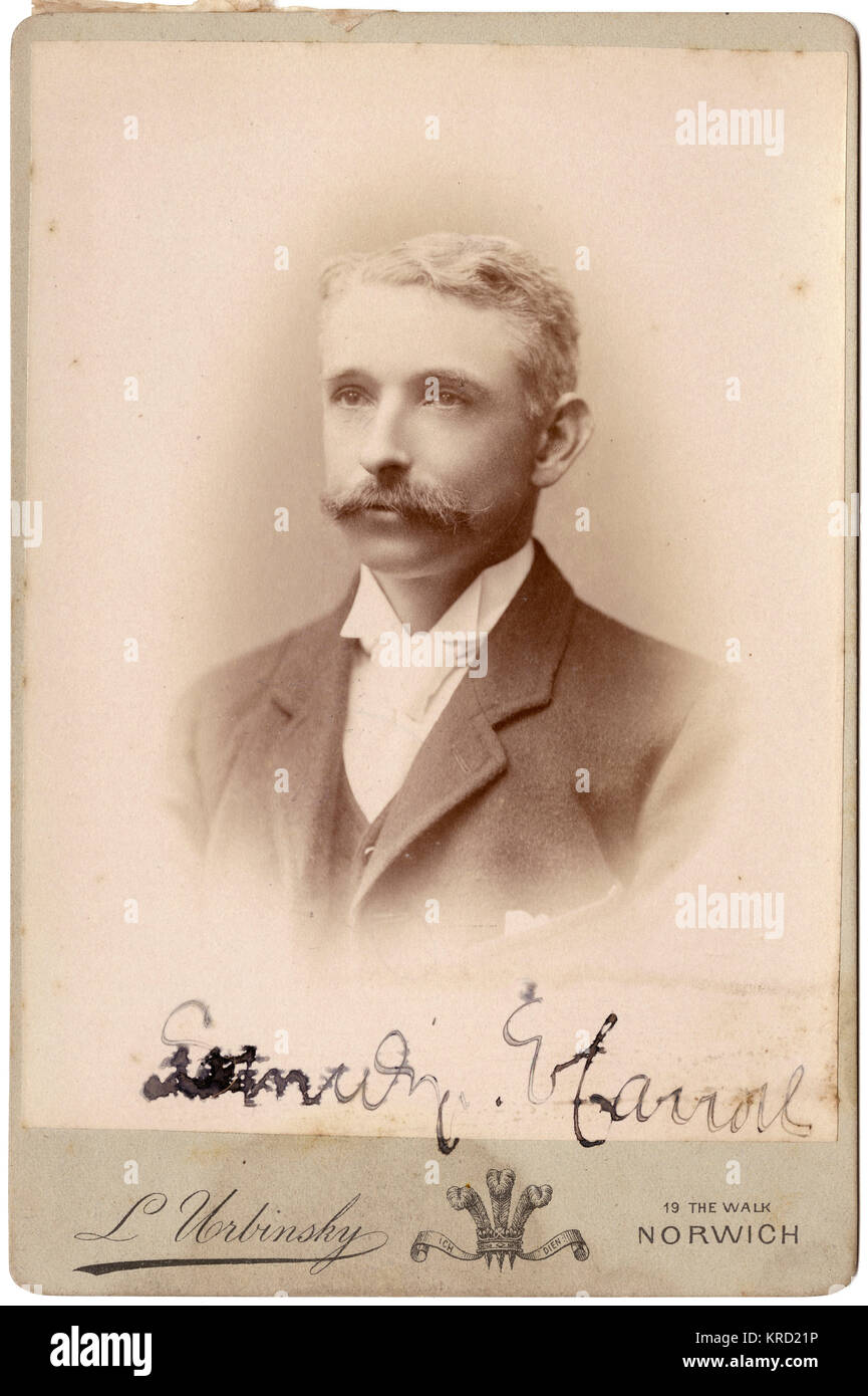 A handsome young Victorian man with short blond hair and a moustache in a head and shoulders portrait.     Date: - Stock Image