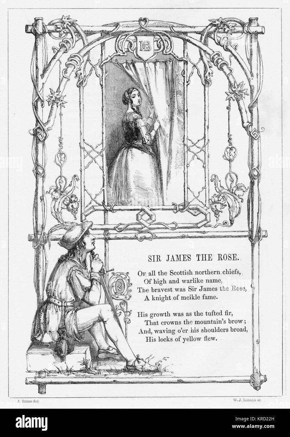 SIR JAMES THE ROSE.  British ballad, credited to Michael Bruce (1746-1767) telling the account of Sir James the - Stock Image