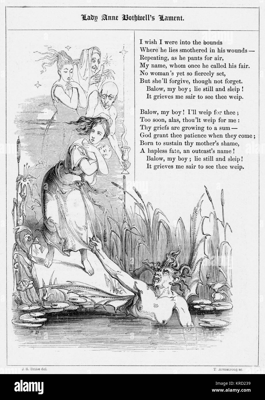 LADY ANNE BOTHWELLS LAMENT.  British ballad detailing the lament of a grieving wife whos husband has deserted her - Stock Image