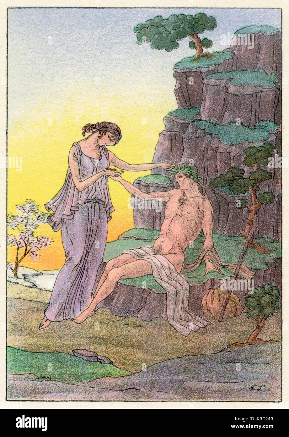 Daphnis and Chloe.  The naive, young lovers begin to feel an uncomprehending love for each other.     Date: early - Stock Image