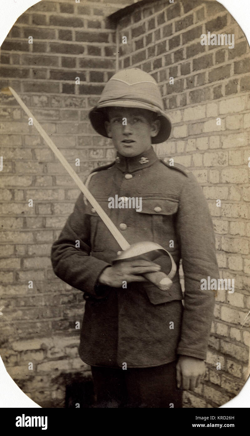Reuben Davey, soldier of the 17th/21st Lancers, a British cavalry regiment formed in 1922.  Seen here in uniform, - Stock Image