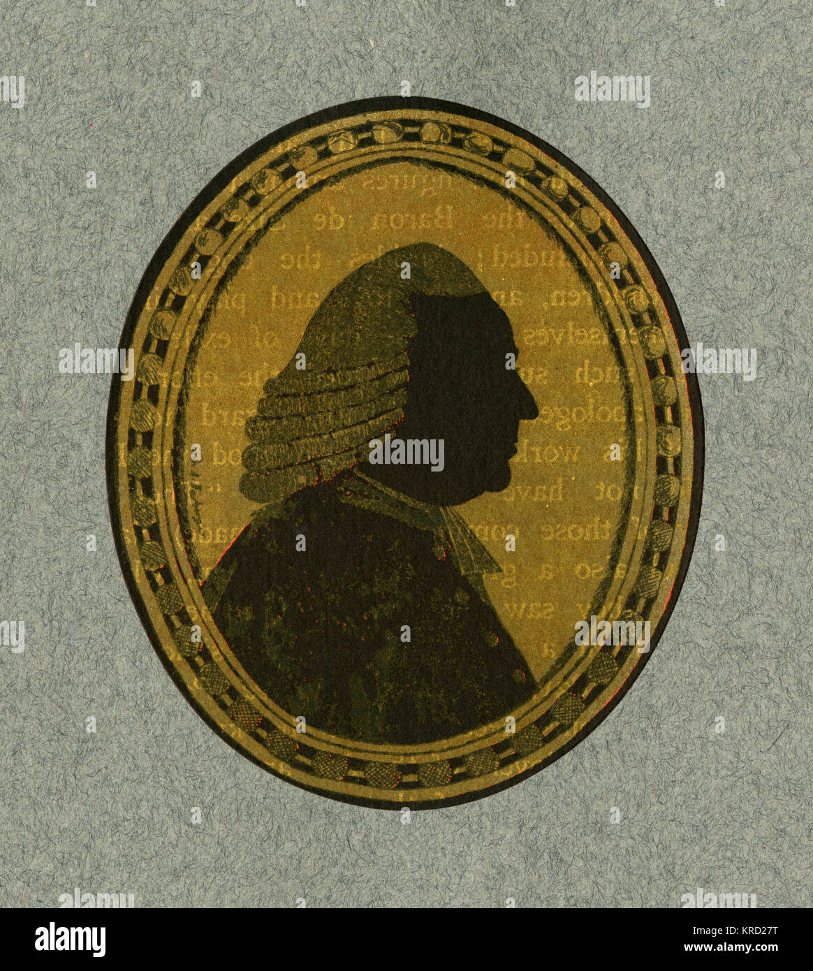 Silhouette portrait on glass by A. Forberger of Lord Mansfield.  William Murray, 1st Earl Mansfield (1705 - 1793) - Stock Image