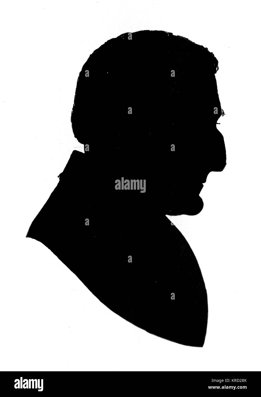 Silhouette portrait of Arthur Wellesley, Duke of Wellington (1769 - 1852), British general and statesman.       - Stock Image