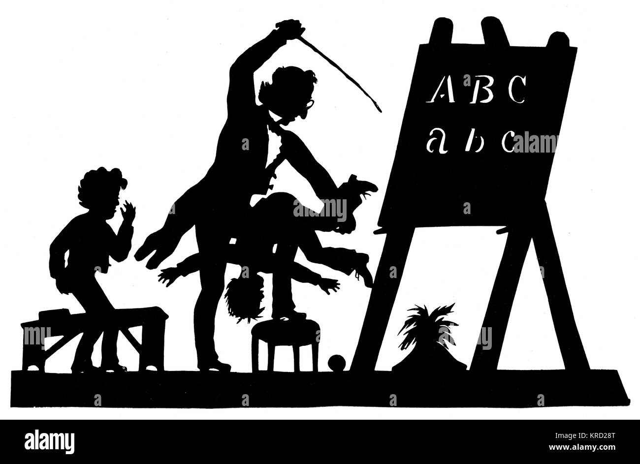 Silhouette of a teacher brutally thrashing his pupil by the German silhouettist Konewka     Date: c.1830 - Stock Image