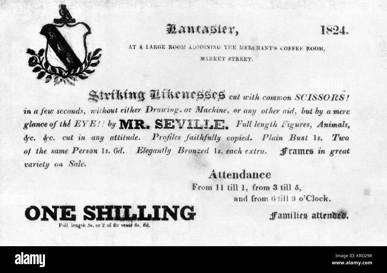 A handbill advertisement promoting the services of Mr Seville, available to cut 'striking likenesses cut with - Stock Image