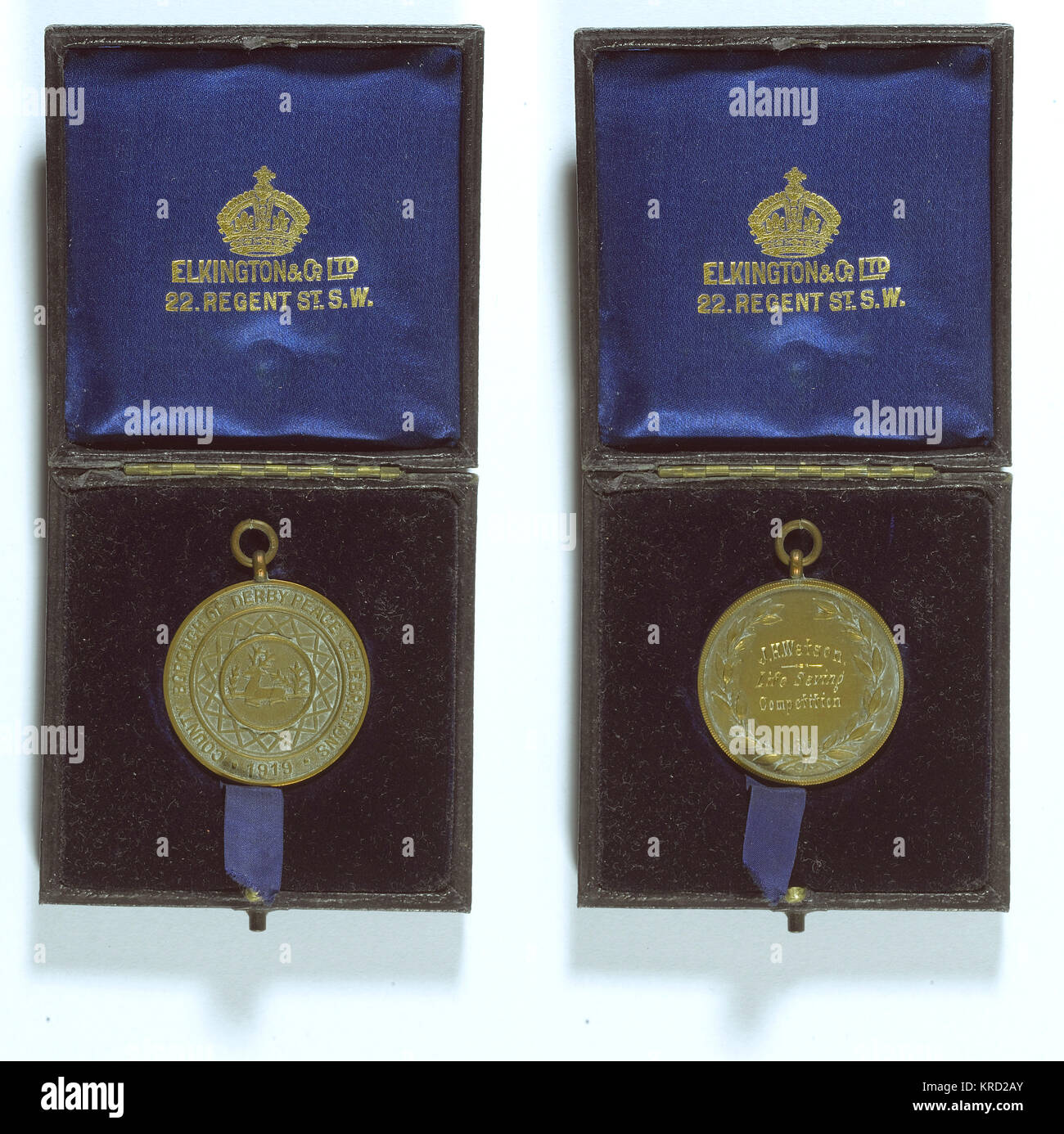 Swimming medal of the County Borough of Derby Peace Celebrations, Life Saving Competition, awarded to J. H. Watson. - Stock Image