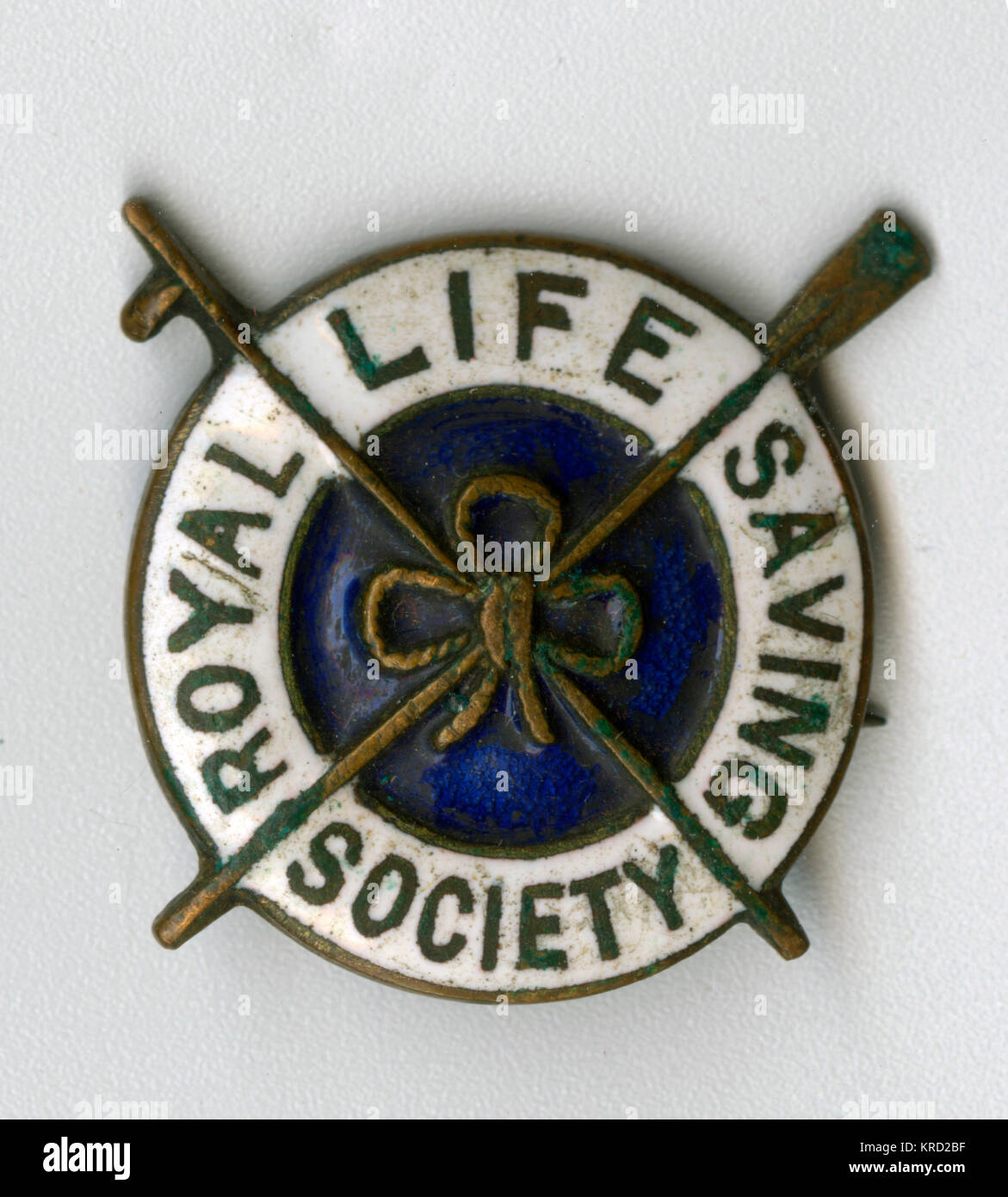 Badge of the Royal Life Saving Society, featuring a lifebelt design.      Date: early 20th century - Stock Image