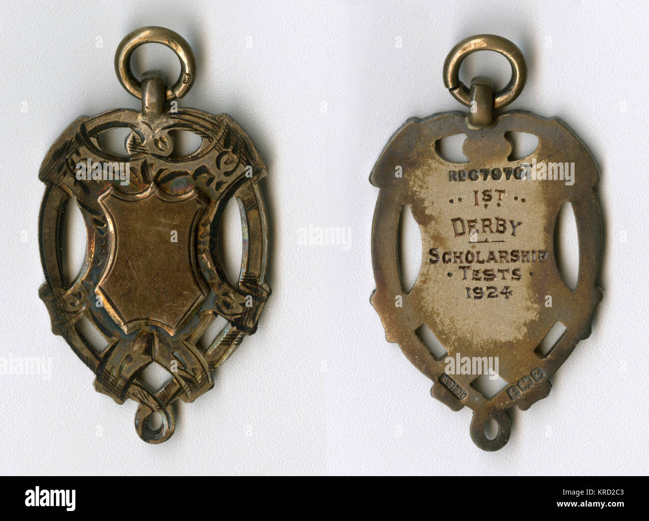 Medal for a 1st Prize in the Derby Scholarship Tests.      Date: 1924 - Stock Image
