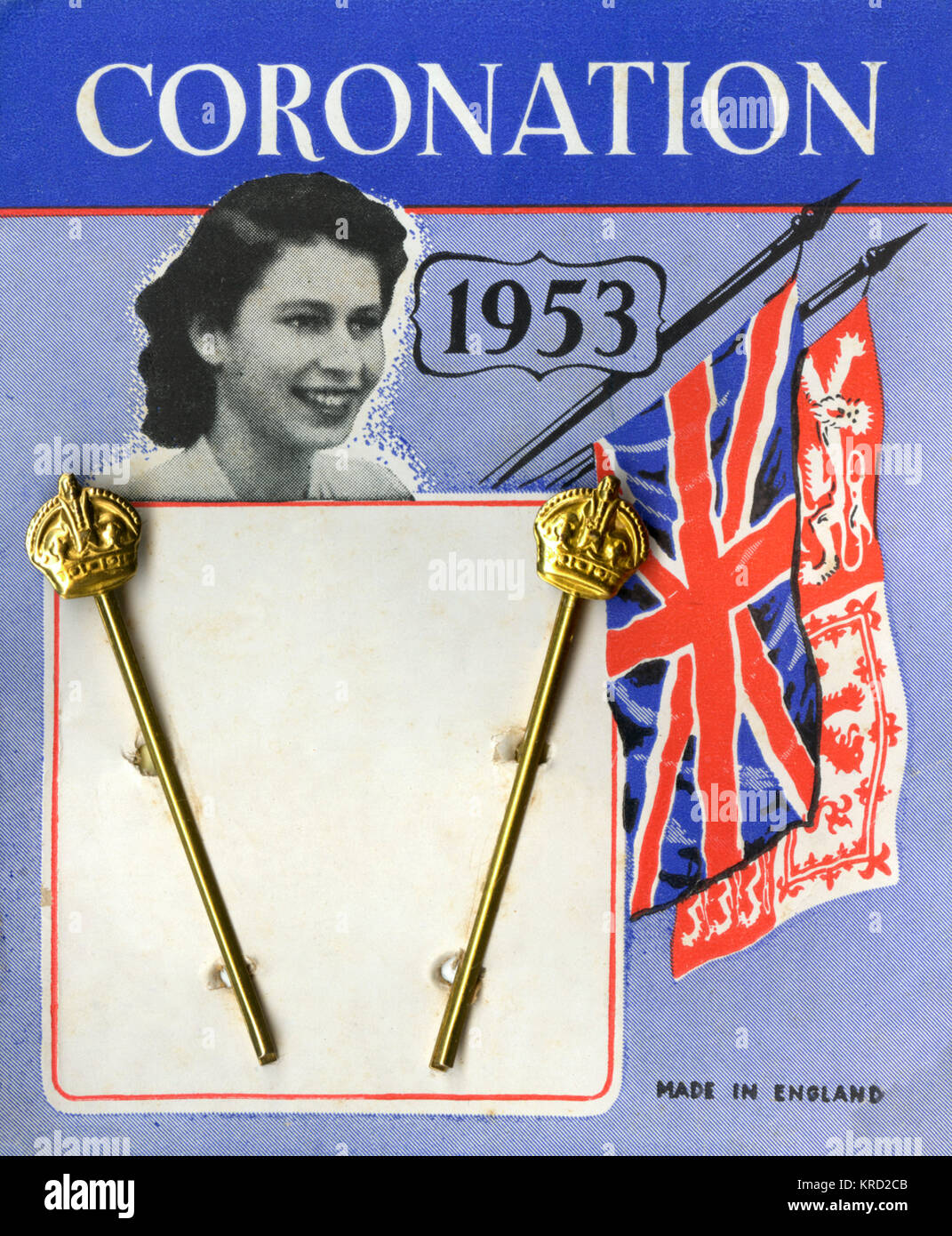 A pair of regal hair clips produced to commemorate the coronation of Queen Elizabeth II in 1953 featuring a small - Stock Image