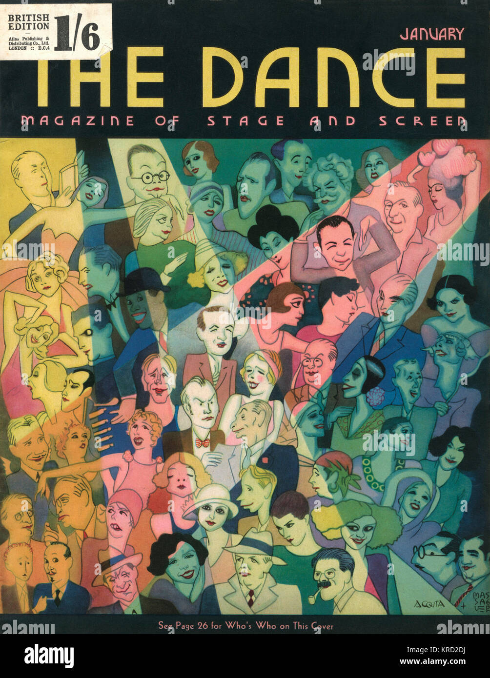 Front cover of The Dance magazine featuring a stylised illustration of numerous personalities of the New York stage - Stock Image