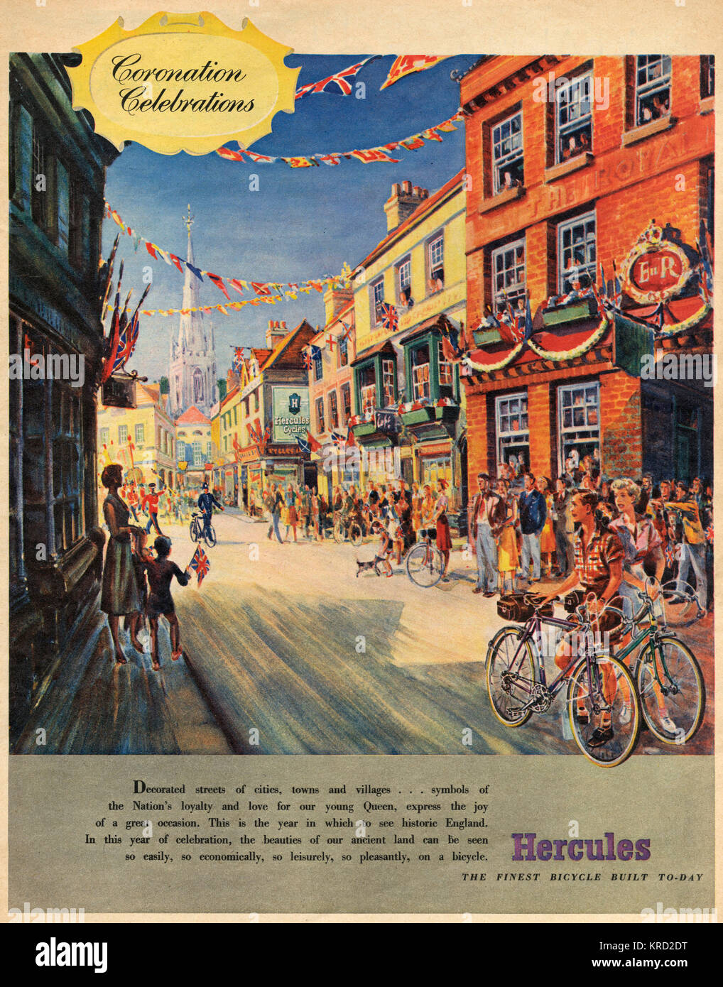 Advertisement for Hercules Bicycles, founded in 1910 in Birmingham, showing the street of a typical British town - Stock Image
