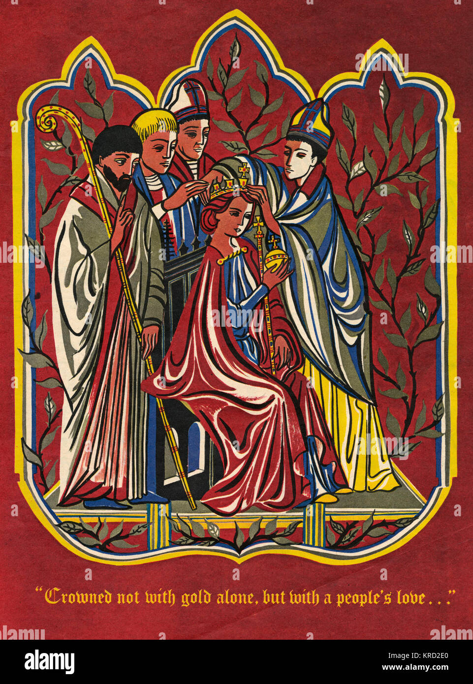 A medieval style illustration showing a Queen being crowned by an archbishop, surrounded by other religious leaders, - Stock Image
