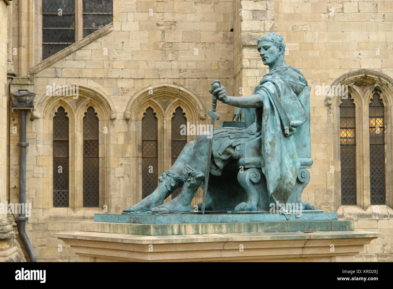 Statue of the Roman Emperor Constantine (272-337), outside York Minster.  In AD306 Constantine the Great was hailed - Stock Image