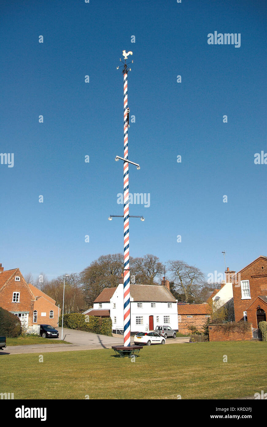 The permanent maypole on the village green at Wellow, Nottinghamshire.  The village has associations with Robin - Stock Image