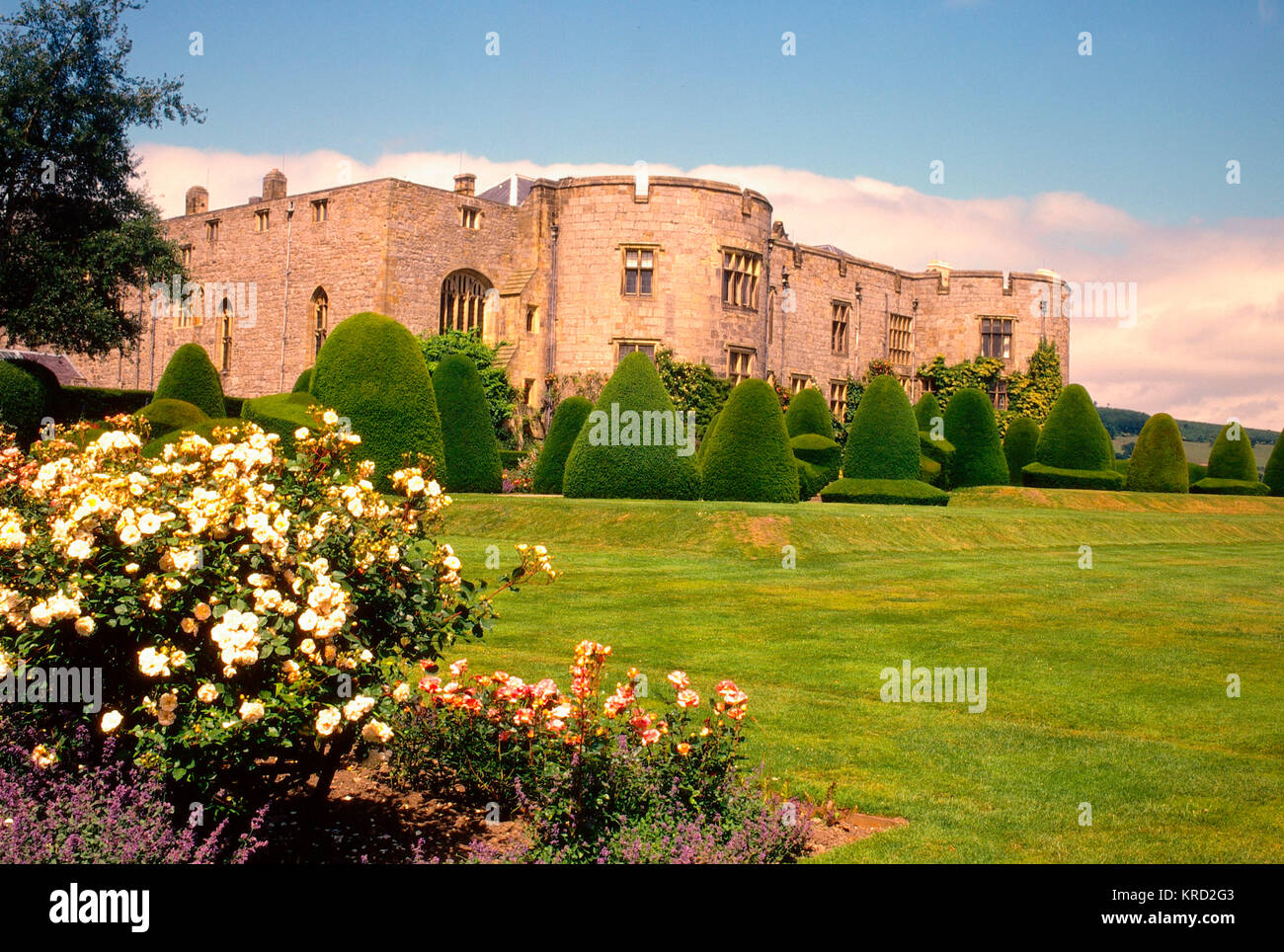 View of Chirk Castle, Wrexham, Clwyd, North Wales, with gardens in the foreground.       Date: 2008 - Stock Image