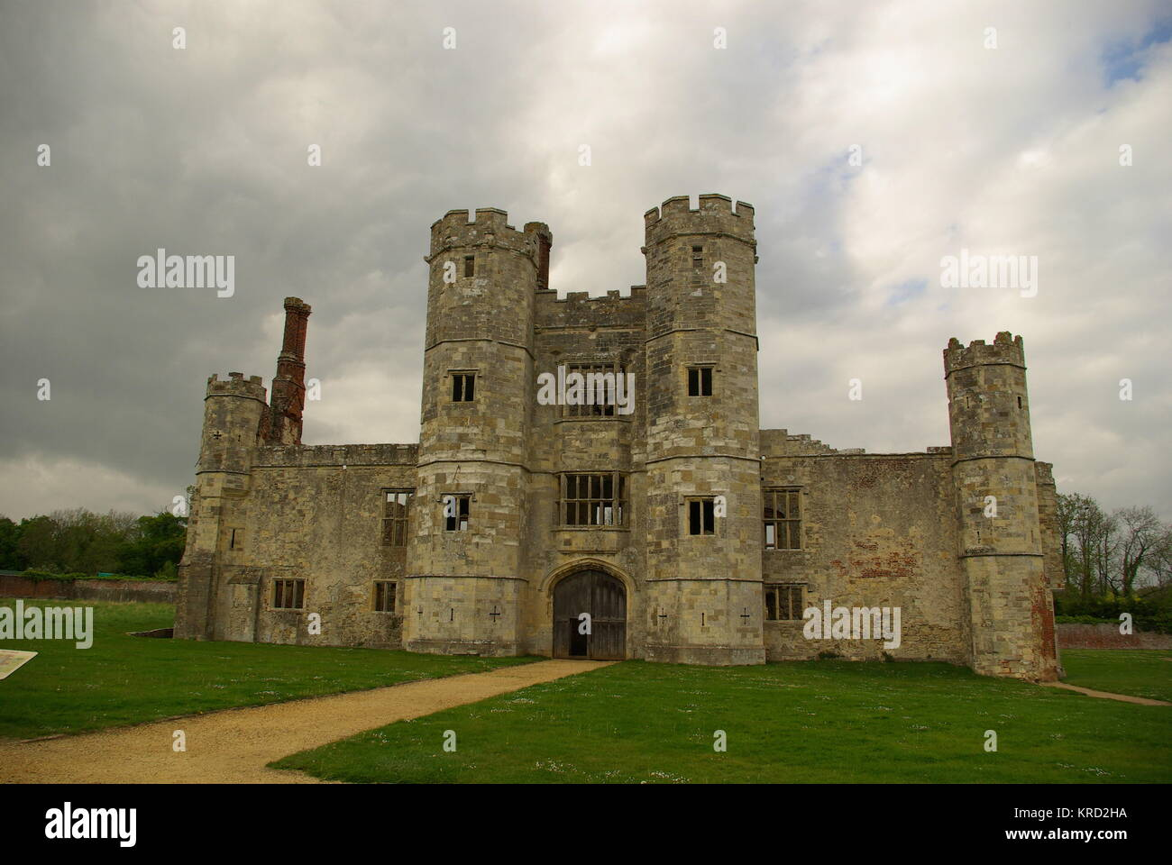 View of the gatehouse of Titchfield Abbey, near Fareham, Hampshire.  The abbey was founded in 1222 for Premonstratensian - Stock Image
