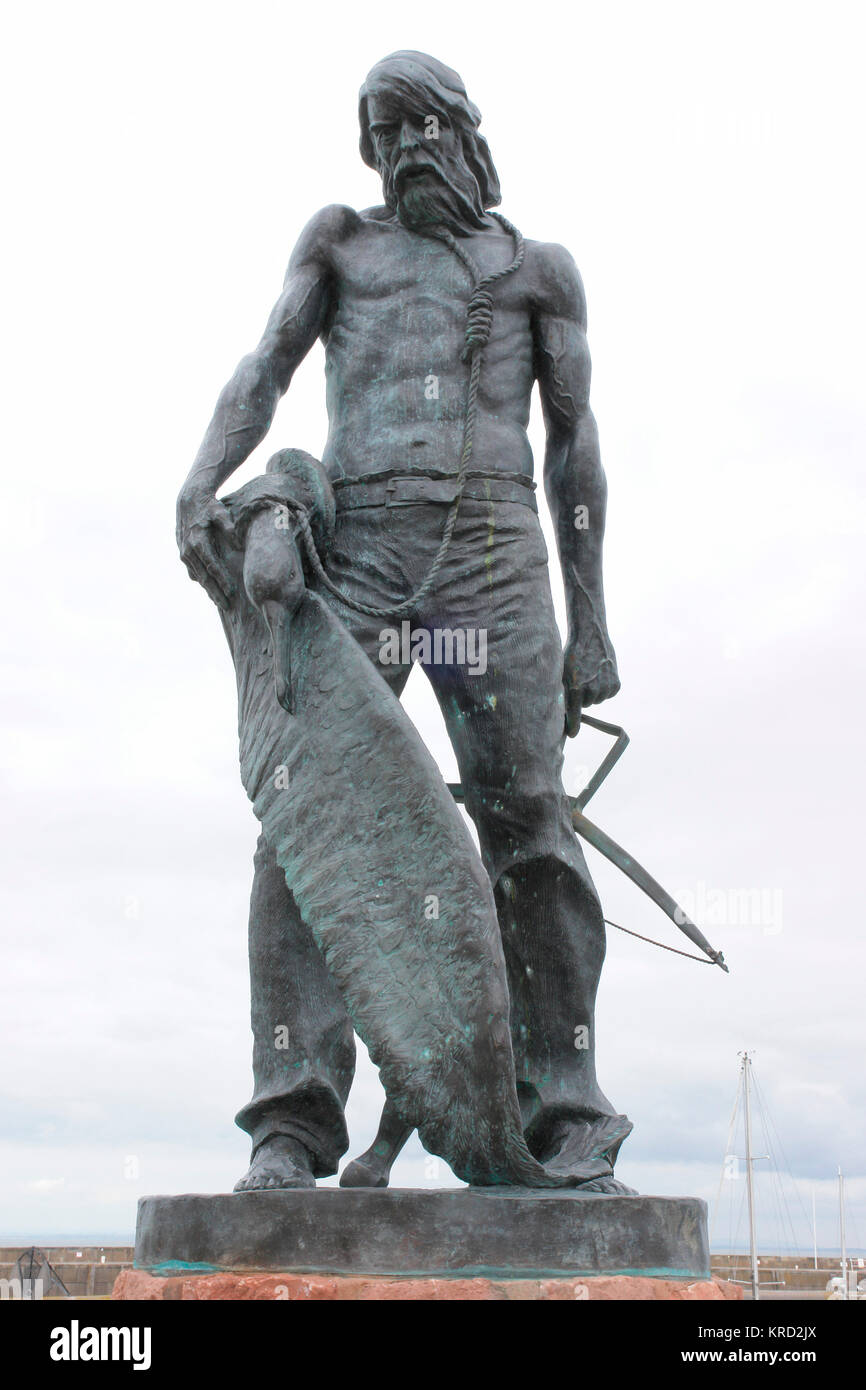 Statue of the Ancient Mariner at Watchet, Somerset, unveiled in September 2003 as a tribute to the 19th century - Stock Image