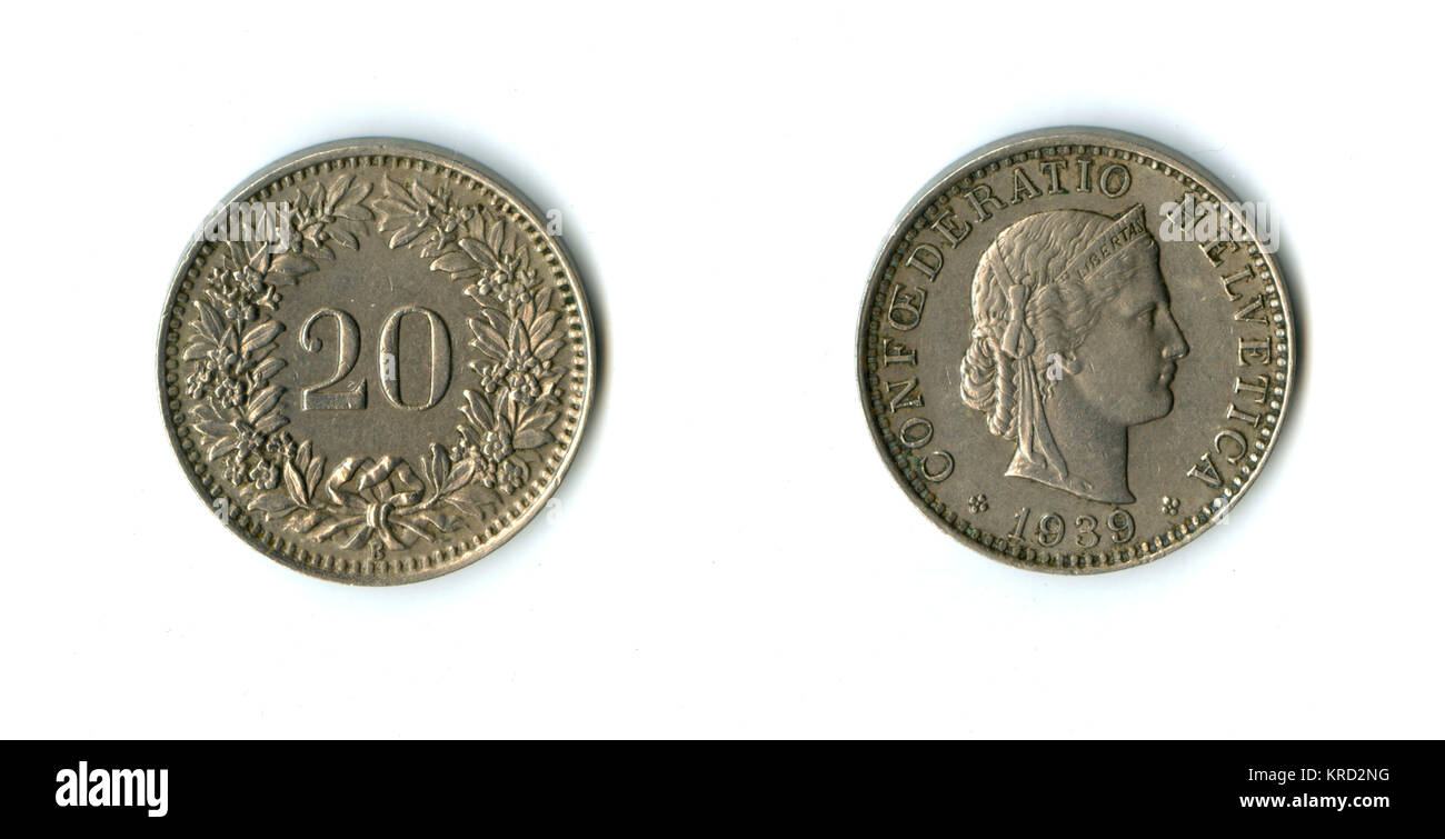 Swiss Confederation 20 Rappen coin, with an allegorical profile of Liberta on the head, and a wreath of leaves and - Stock Image