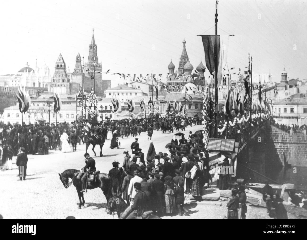 Tsar Nicholas II of Russia was coronated on the 26th of May 1896, this parade on the Kamenny Bridge in Moscow, is - Stock Image